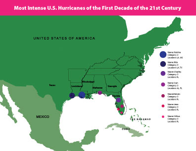 The Seven Most Intense U.S. Hurricanes of the Past Decade  - image 1 - student project