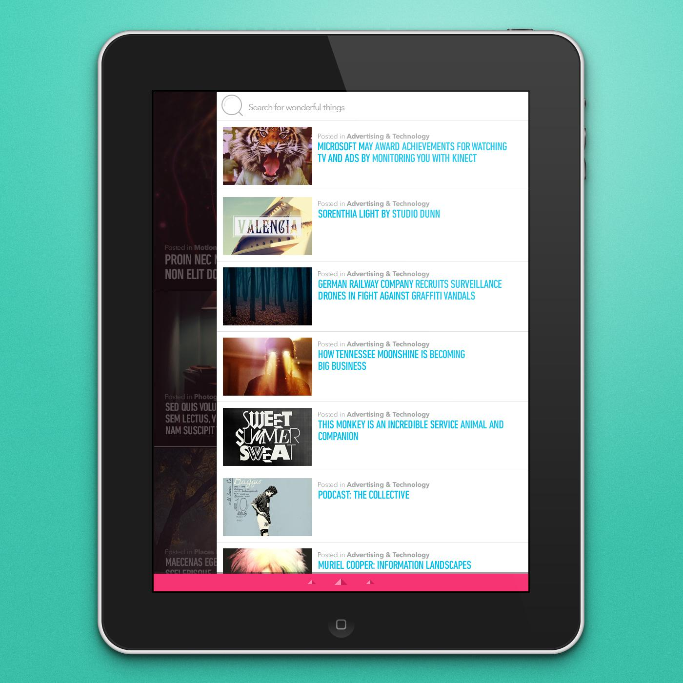 iPad RSS Reader - image 2 - student project
