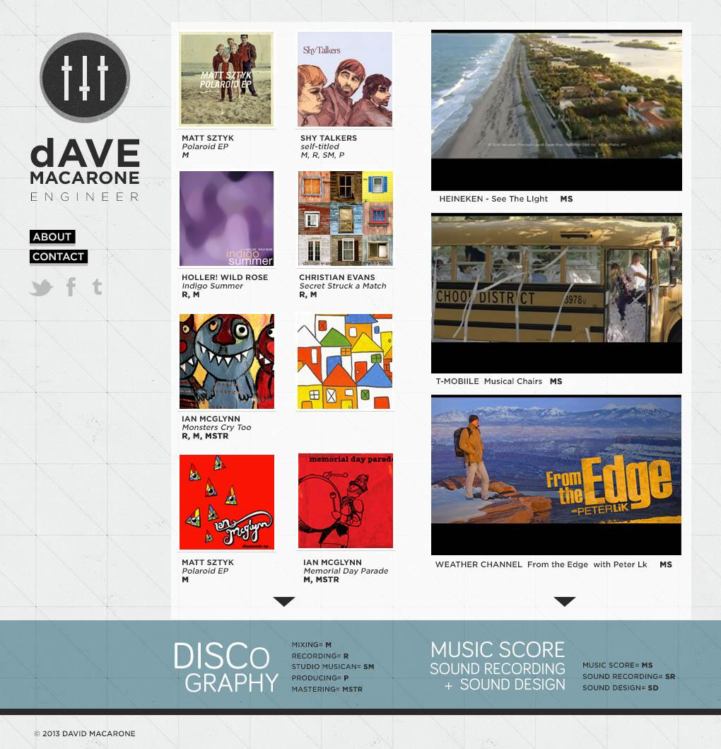 UPDATED: A Recording Engineer's Website - image 2 - student project