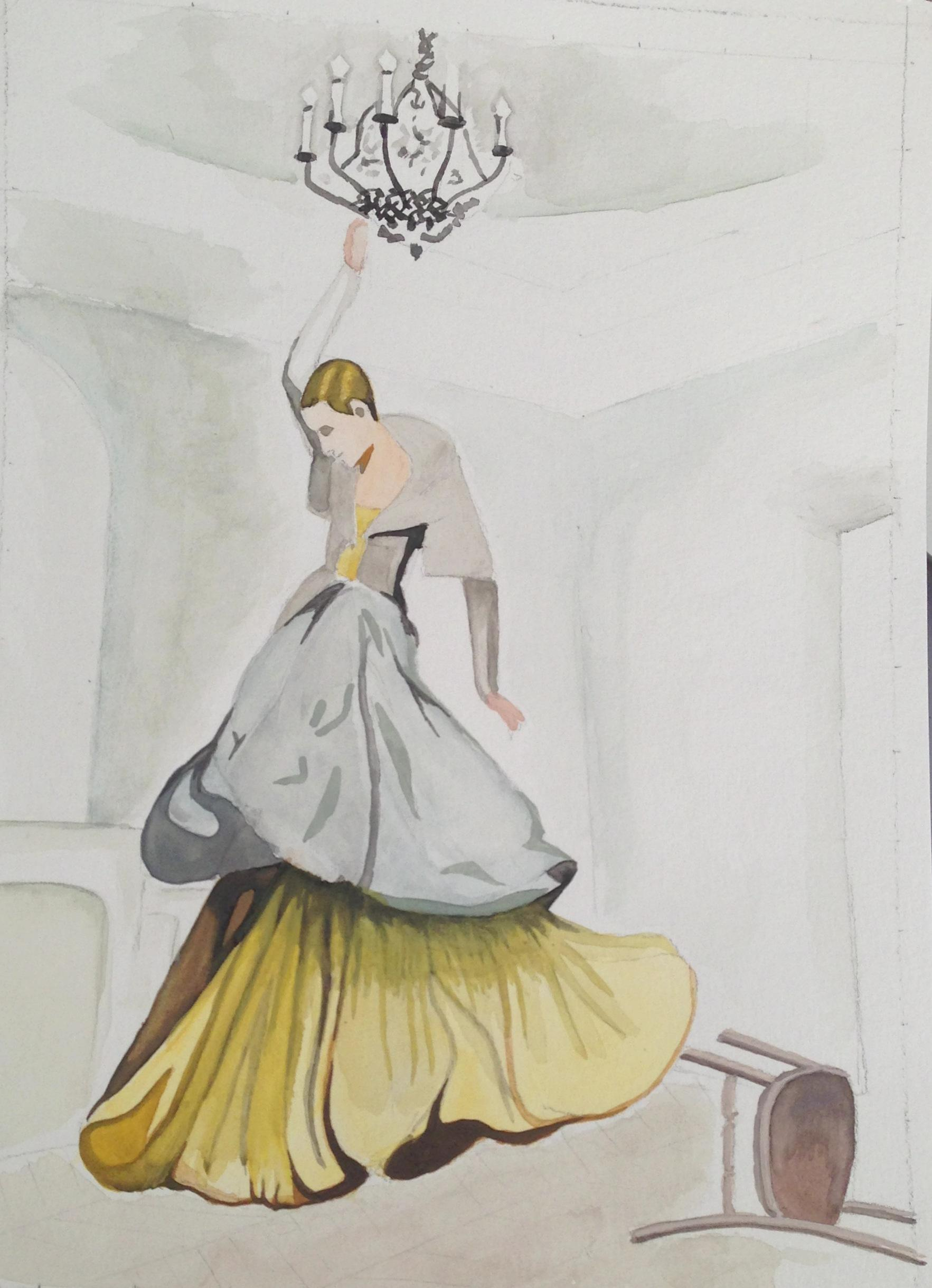 WATERCOLOR,SKETCH: High-Fashion Fantasy - image 1 - student project