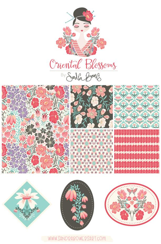 Oriental Blossoms Surface Design - Patterns Collection - image 2 - student project