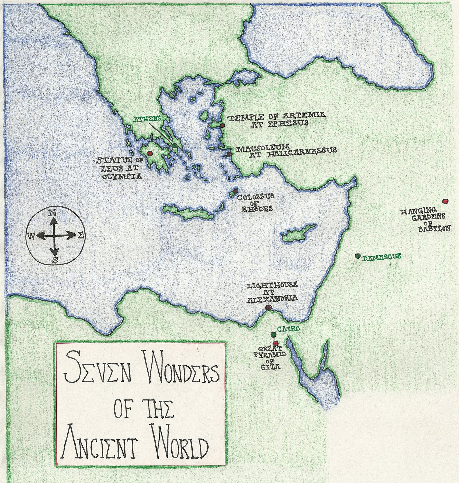Hand Drawn Map: Seven Wonders of the Ancient World - image 1 - student project