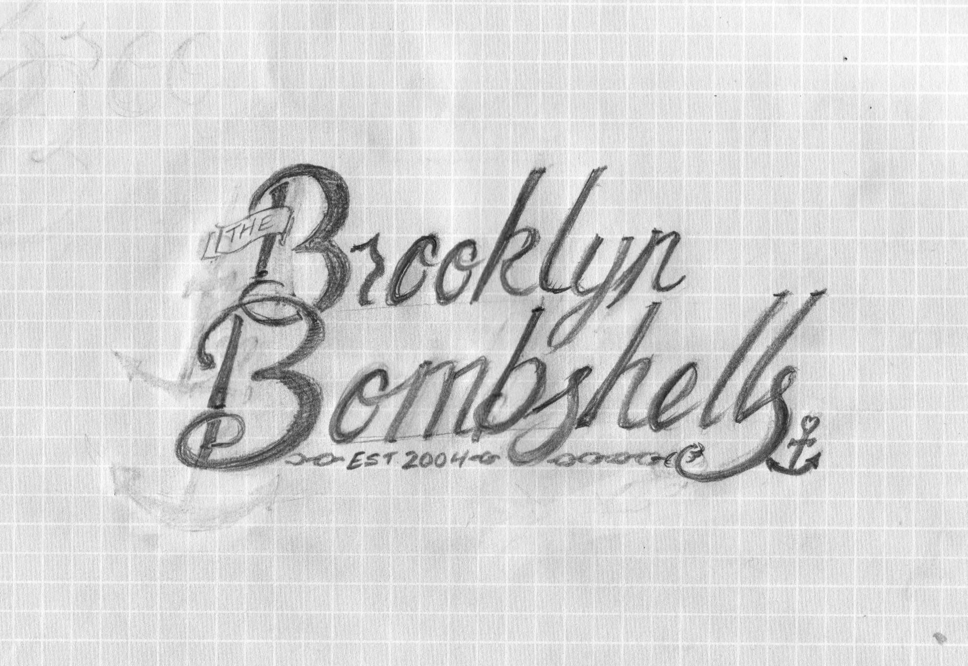 """Brooklyn Bombshells"" script logo - image 1 - student project"