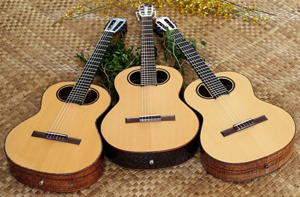 custom guitar, halia aloha O Kaupos model nylon string guitars