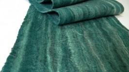 Валяный шарф Малахит зимний двухсторонний