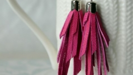 Шкіряні сережки-китички рожеві