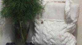 Сумка вязаная белая Зима