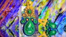 Серьги «Малахит и золото»