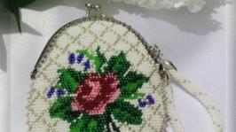 Кошелек-монетница «Античная роза»
