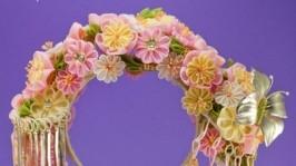 Ободок с цветами в японском стиле для невесты