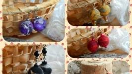 «Сережки валяні ручної роботи із вовни»