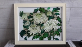 Витражное панно Хризантемы