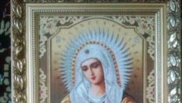 Вышитая икона гобелен Умиление Пресвятой Богородицы