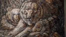 Вырезанная картина в дереве !Медвежья семя!