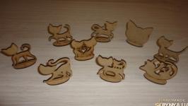 Коты и котики деревянные заготовки 9 штук