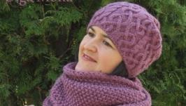 Комплект шапка и снуд Лиловый лотос Шапка бини и шарф снуд