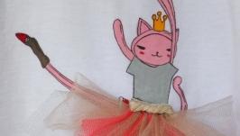 Самый лучший подарок девочке футболка ручной работы Кошка Балерина