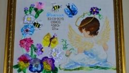 Метрика детская Ангел в цветах