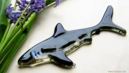 Декор из стекла акула, фьюзинг декор рыбки, стекло в интерьере,
