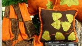 Вязанный плед ручной работы с элементами валяния