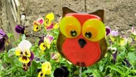 Садовый декор, декор из стекла, фьюзинг сова,украшение сада, садовые фигуры