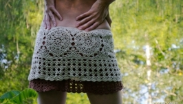 Вязаная пляжная юбочка