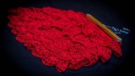 Вязаная юбка воланами