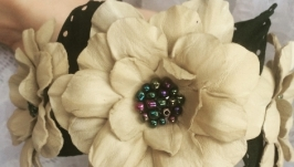 Ободок с цветами, кожаный обруч