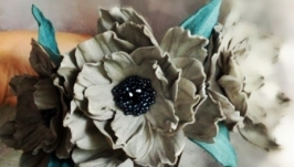 Ободок с цветами, кожаные цветы