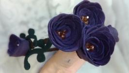 Ободок с цветами, кожаные розы