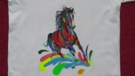 Яркая футболка, ручная роспись)