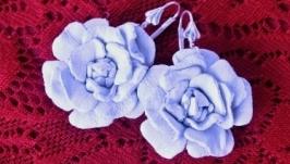 Серьги Белые розы
