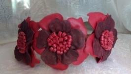 Ободок с цветами, замшевое украшение