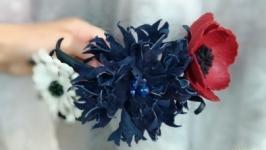 Яркий ободок для волос из кожи «Полевые цветы»