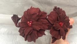Ободок с цветами, замшевое украшение цвета красного дерева