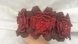 Нежный кожаный ободок с цветами