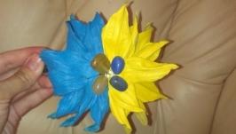 Кожаный ободок для волос «Синие и желтое»