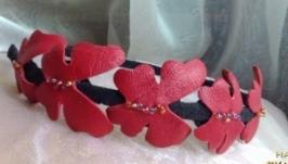Кожаный ободок, красные бабочки