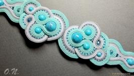 Сутажный браслет «Blue wave in turquoise»
