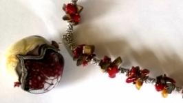 Кулон из итальянского стекла moretti с полудрагоценными камнями