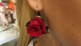 Серьги с живыми розами