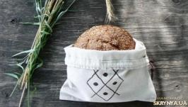 Мешочек для хлеба с ручной вышивкой, 100% лен
