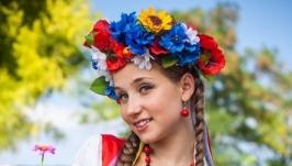 Украинский венок классический с ленточками