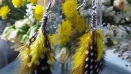 Серьги с перьями ′Райская птица′