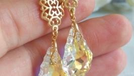 позолоченные серьги с кристаллами сваровски