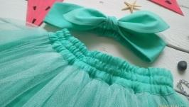 Комплект Фатиновая юбка и повязка Солоха ′Мятная конфетка′