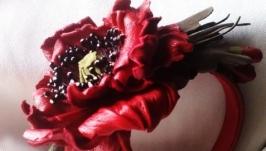 Обруч из кожи с цветами мака
