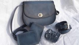 кожаная сумка с аксессуарами