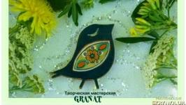 Деревянная брошка расписанная вручную: «Птичка Счастья» (зеленый)