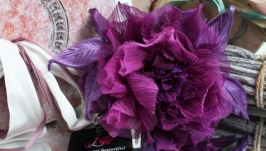 Брошь-заколка шелковая роза «Сиреневый туман». Цветок из ткани.